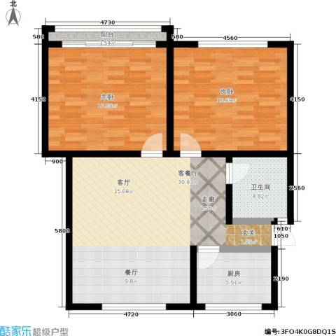 蓝天城市花园2室1厅1卫1厨86.00㎡户型图