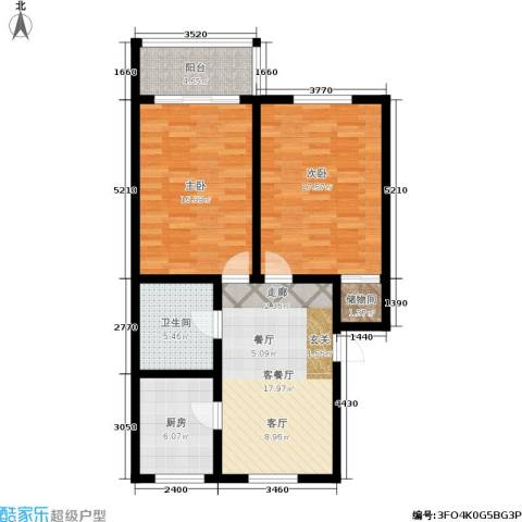 采荷紫藕2室1厅1卫1厨80.00㎡户型图