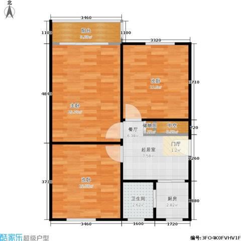 闸弄口新村3室0厅1卫1厨62.00㎡户型图