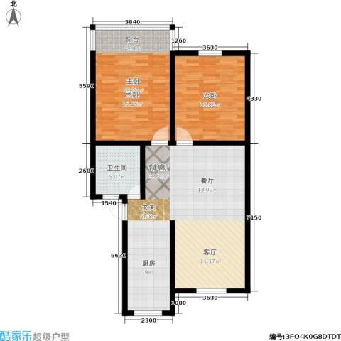 蓝天城市花园2室1厅1卫0厨86.00㎡户型图
