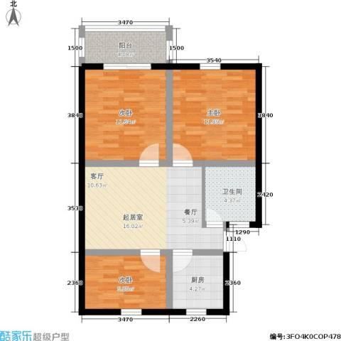 采荷翠柳3室0厅1卫1厨69.00㎡户型图
