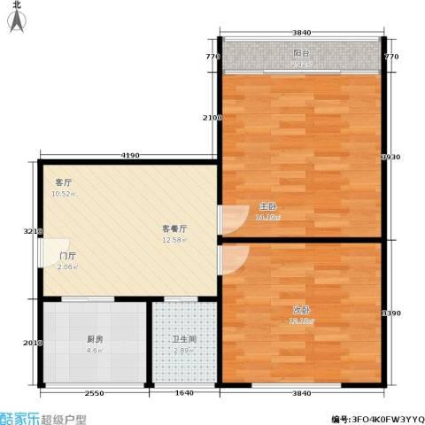 闸弄口新村2室1厅1卫1厨53.00㎡户型图