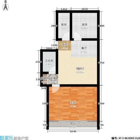 灯塔新村1室1厅1卫2厨60.00㎡户型图