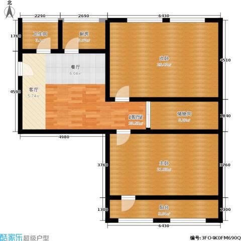施家花园2室0厅1卫1厨105.00㎡户型图