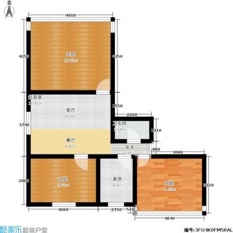 施家花园3室0厅1卫1厨75.00㎡户型图