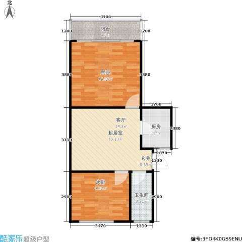 景芳六区2室0厅1卫1厨55.00㎡户型图