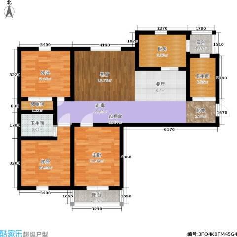 施家花园3室0厅2卫1厨98.00㎡户型图