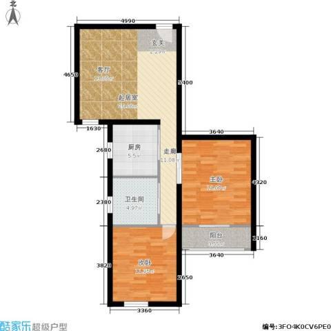 静怡花苑2室0厅1卫1厨73.00㎡户型图