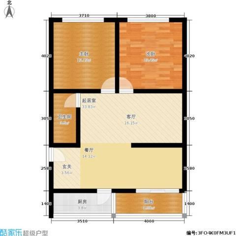 施家花园2室0厅1卫1厨83.00㎡户型图
