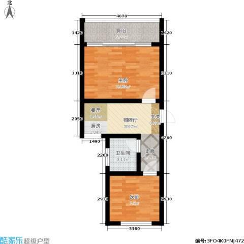 景芳三区2室1厅1卫0厨48.00㎡户型图