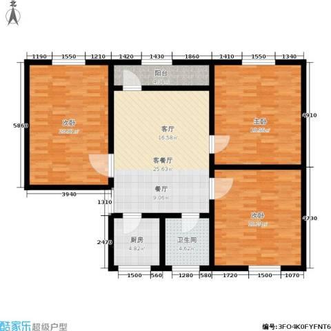 采荷东区3室1厅1卫1厨110.00㎡户型图