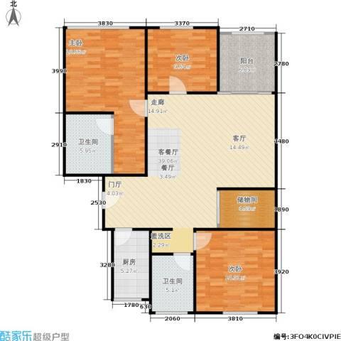 中江花园3室1厅2卫1厨115.00㎡户型图