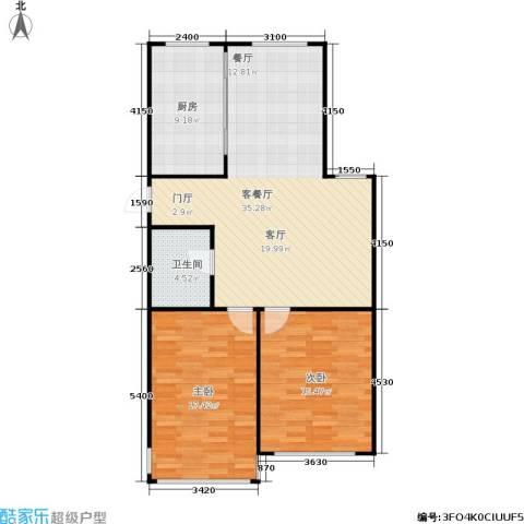 中江花园2室1厅1卫1厨87.00㎡户型图