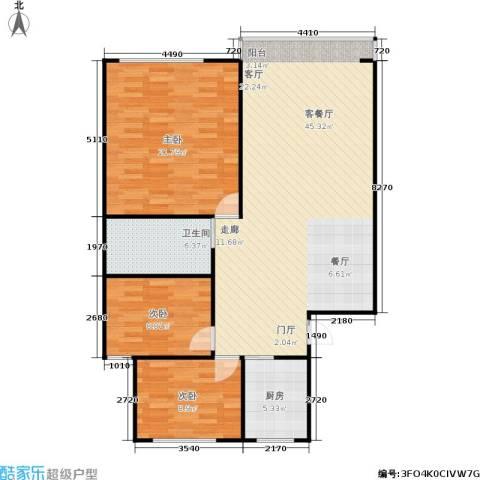 中江花园3室1厅1卫1厨101.00㎡户型图
