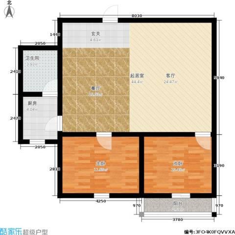 国都公寓2室0厅1卫1厨87.00㎡户型图