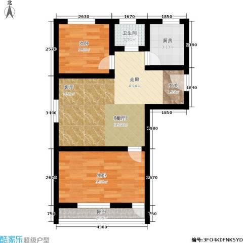 景芳三区2室1厅1卫1厨48.00㎡户型图