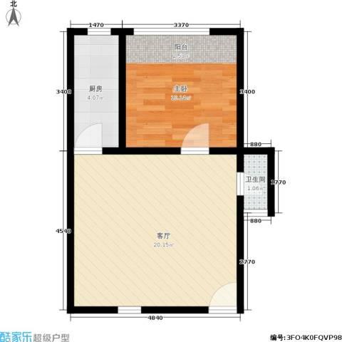 国都公寓1室1厅1卫1厨40.00㎡户型图