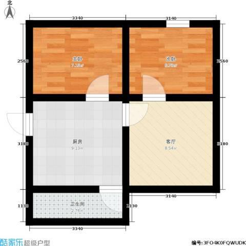 国都公寓2室1厅1卫1厨41.00㎡户型图