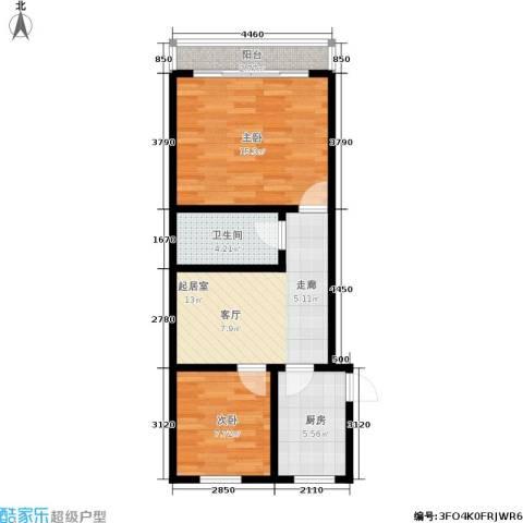 国都公寓2室0厅1卫1厨56.00㎡户型图