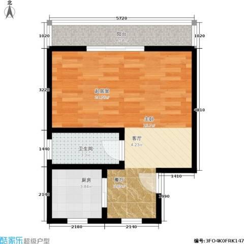 国都公寓1卫1厨42.00㎡户型图