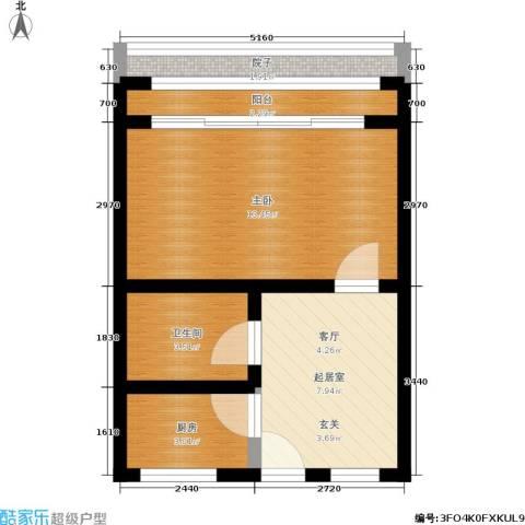 朝晖一区1室0厅1卫1厨40.00㎡户型图