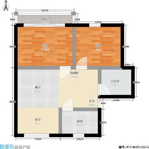 朝晖四区2室1厅1卫1厨61.00㎡户型图