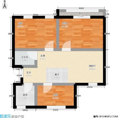 朝晖四区3室1厅1卫1厨59.00㎡户型图