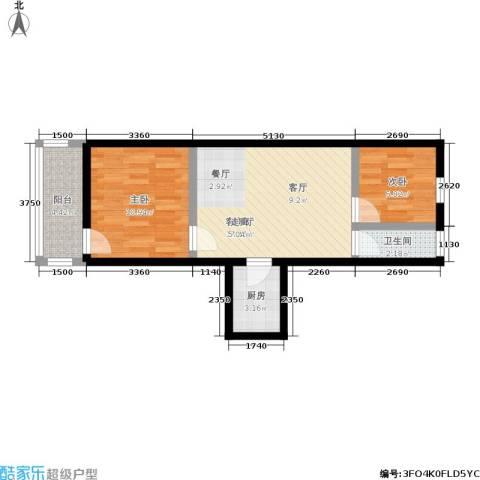朝晖四区2室1厅1卫1厨52.00㎡户型图