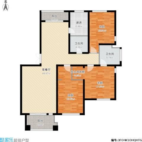 绿城桂花城3室1厅2卫1厨169.00㎡户型图
