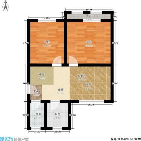 稻香园南区2室1厅1卫1厨59.00㎡户型图