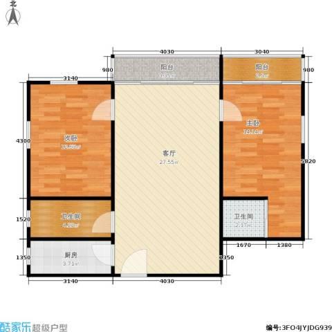 东海花园2室1厅2卫1厨76.00㎡户型图
