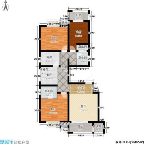 加州壹号3室1厅3卫1厨129.00㎡户型图