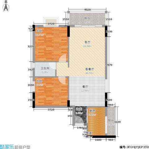 橡树园2室1厅1卫1厨86.00㎡户型图