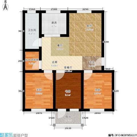 稻香园南区3室1厅1卫1厨76.00㎡户型图