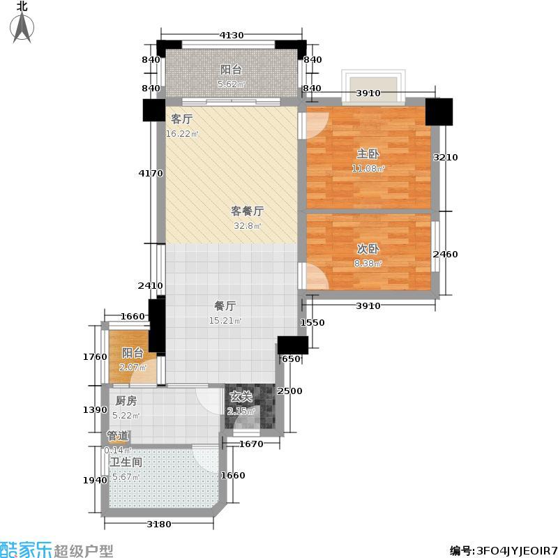 橡树园81.21㎡D2栋03单元2室面积8121m户型