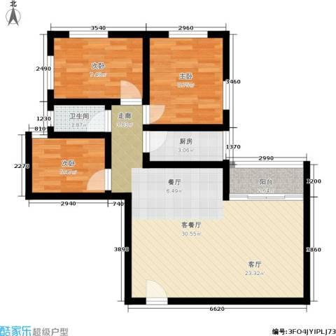 朝晖苑3室1厅1卫1厨88.00㎡户型图