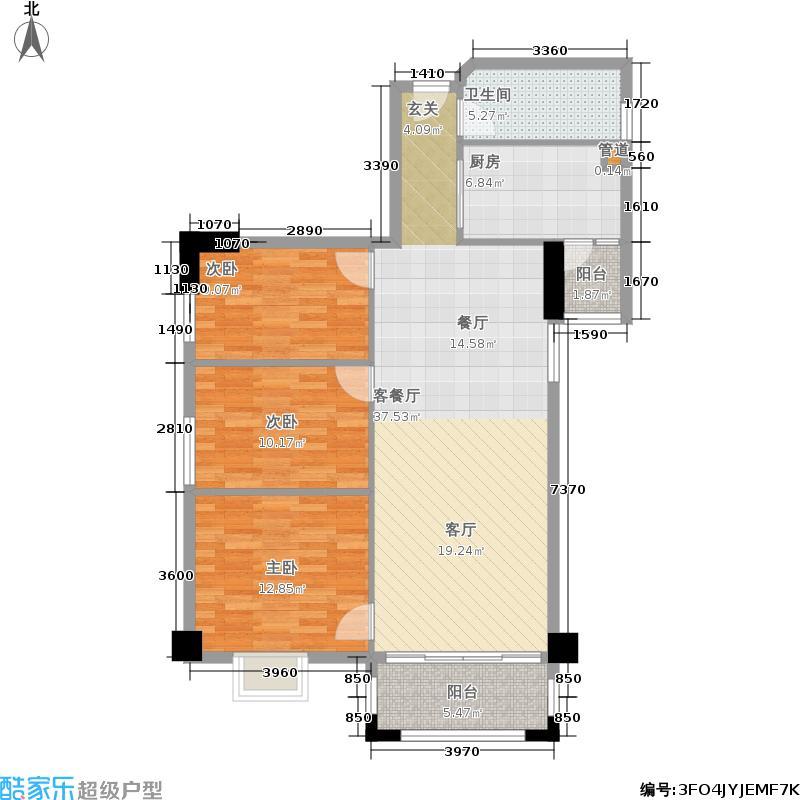 橡树园100.94㎡D1栋08单元3室面积10094m户型