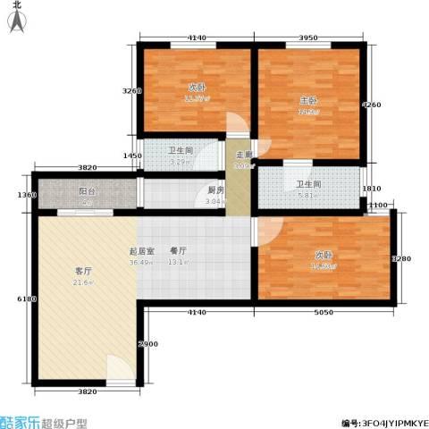 朝晖苑3室0厅2卫1厨108.00㎡户型图