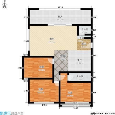稻香园南区3室1厅2卫1厨126.00㎡户型图