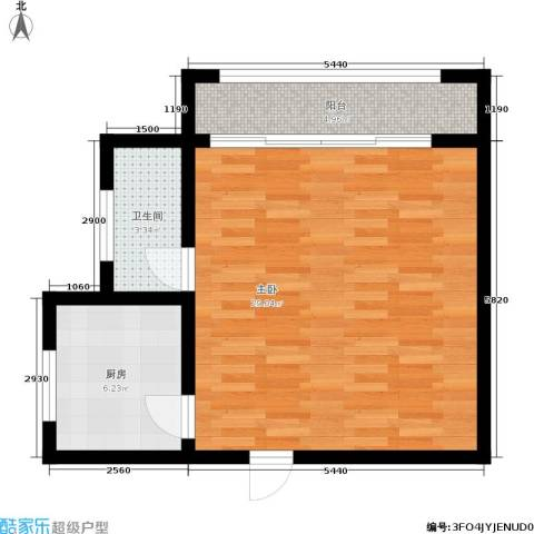橡树园1室0厅1卫1厨50.00㎡户型图