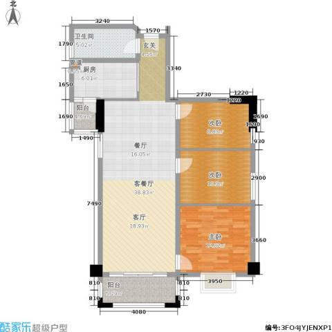 橡树园3室1厅1卫1厨101.42㎡户型图