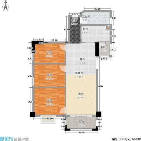 橡树园3室1厅1卫1厨101.00㎡户型图
