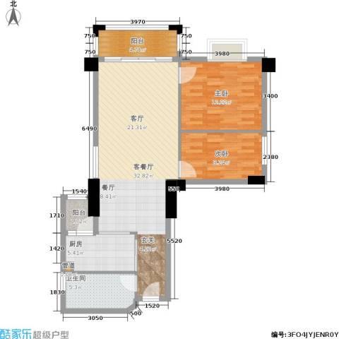 橡树园2室1厅1卫1厨80.06㎡户型图