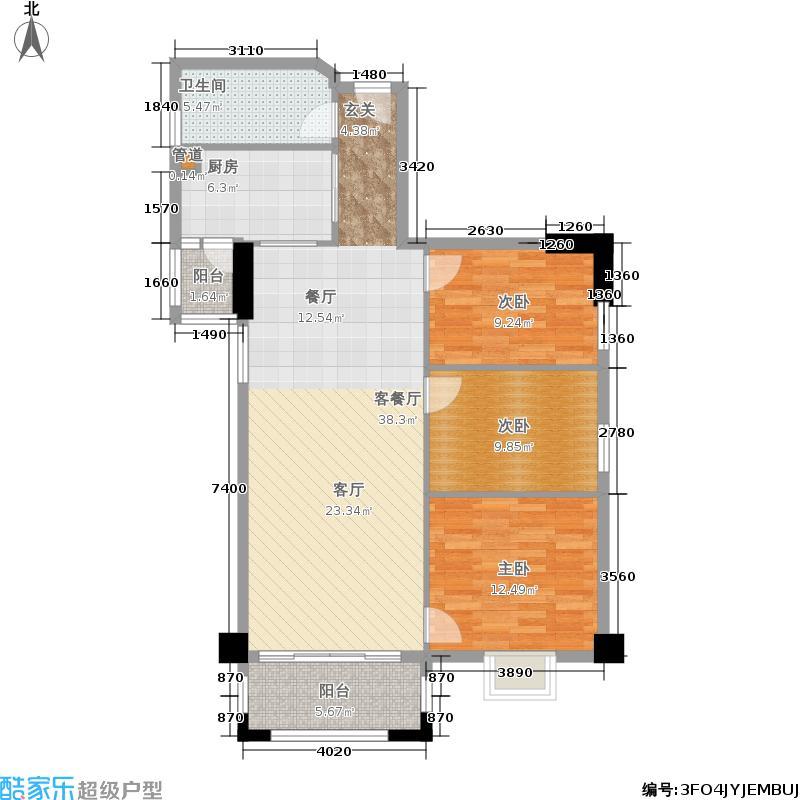 橡树园100.94㎡D1栋07单元3室面积10094m户型