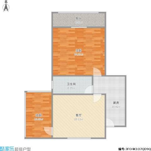 枫林大楼商住公寓2室1厅1卫1厨101.00㎡户型图