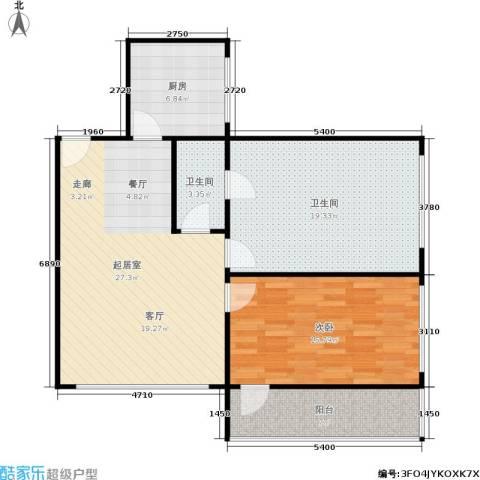 滨江花园1室0厅2卫1厨84.00㎡户型图