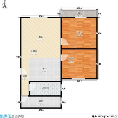 滨江花园2室0厅1卫1厨84.00㎡户型图