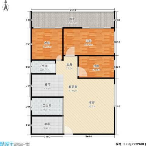 滨江花园3室0厅2卫1厨123.00㎡户型图