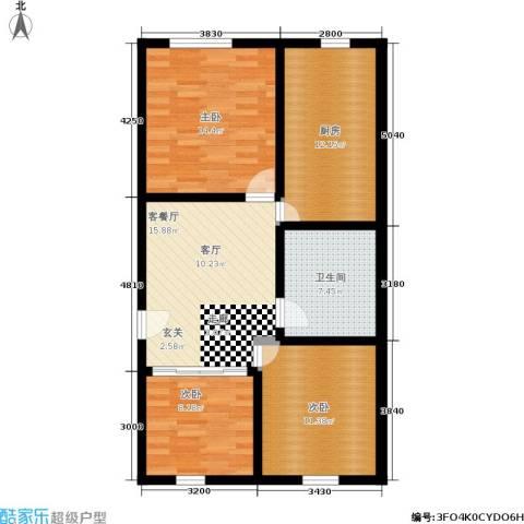 中山北路小区3室1厅1卫1厨80.00㎡户型图