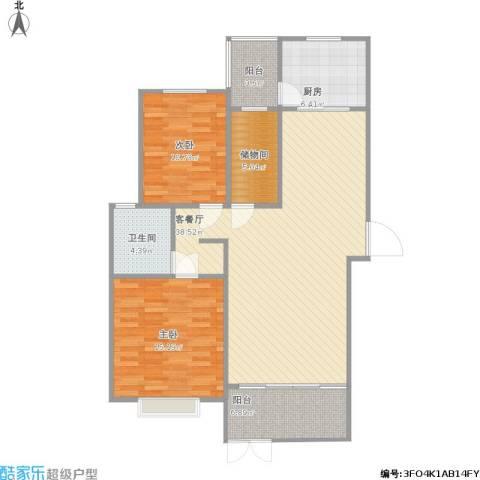 新凯御景湾2室1厅1卫1厨124.00㎡户型图